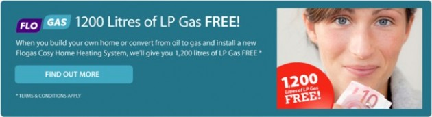 Flogas offers an exceptional 1200 litres of LP Gas FREE for anyone either converting from oil to gas or installing a heating system for the first time - Click for more information